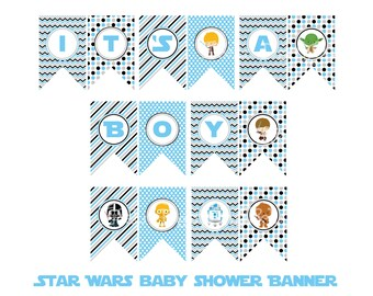 Star Wars It's A Boy Banner, Star Wars Baby Shower, Instant Download, Printable