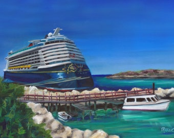 Ride to Paradise, Dream, a print of an oil painting of Disney's Cruise ship Dream, castaway cay, disney cruise ship, prints, art prints,