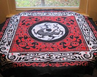 Japanese Dragon Batik Square Table Cloth Cotton