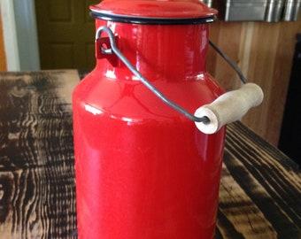 1950's Red Enamel Milk Can--Milk Churn--flower vase--European Enamelware