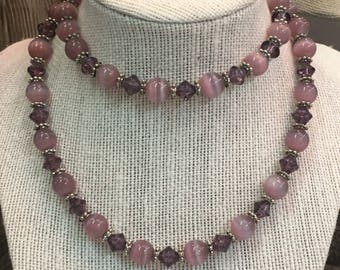 Lovely Pink Stone Cats Eye Beaded Necklace