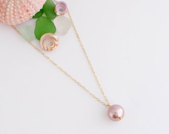 Simple Pink Pearl Necklace, Handmade, Layering, Delicate, 14k Gold Filled, Simply Me Jewelry Pretty in Pink Necklace, SMJNK427