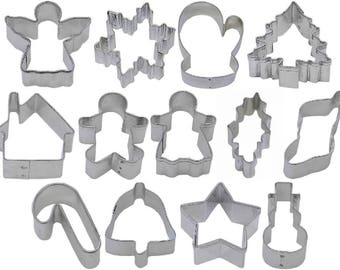 13 Piece Mini Christmas Cookie Cutter Set Snowflake Angel Candy Cane Gingerbread