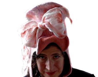 Boho romantisch Zylinder mit übergroßen Schleife in Pfirsich und lila Hand gefilzte Wolle TopHat Festival Mode Cosplay Kostüm Hut LARP