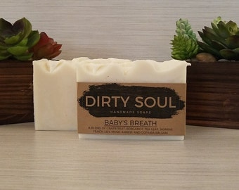 Coconut Milk Soap | Baby's Breath | Floral Scented Soap | Cold Process Soap | Palm Oil Free | Olive Oil Soap | Coconut Oil Soap