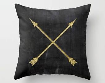 Arrow Pillow Cover, Gold Cushion Cover, Black Velvet Pillow, Rustic Home Decor, Gold Pillow, Boho, Arrow Decor, 18x18, 22x22, Gifts for Her