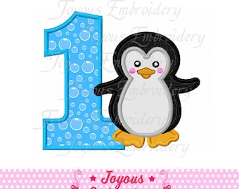 Instant Download Boy Penguin Number 1 Applique Embroidery Design NO:1628