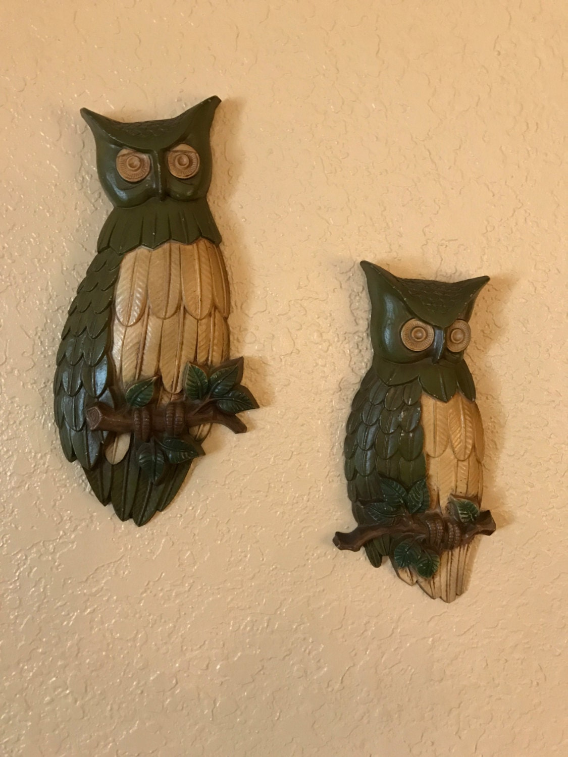 Sexton Owls 1969 Wall Hangings Set of Two