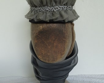 1872 Reproduction Ladies Victorian pillbox hat with scarf in grey