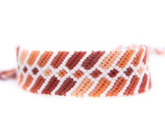 White With Shades of Red-Brown Friendship Bracelet