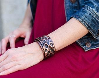 Hammered Copper Cuff Bracelet, Boho Bracelet, Tallulah Cuff Bracelet
