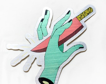 Metallic Knife and Hand Sticker FREE US Shipping