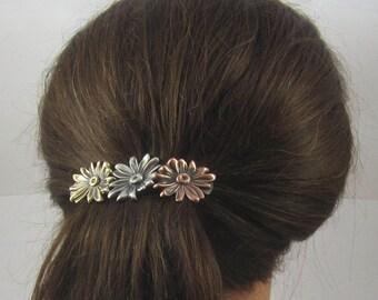 Daisy French Barrette 80MM- Flower Barrette- Daisy- Hair Clips- Daisy Design