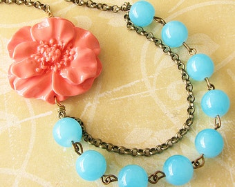 Statement Necklace Coral Jewelry Flower Necklace Turquoise Jewelry Beaded Necklace Gift For Her