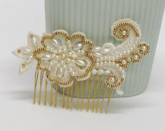 Bridal lace hair piece, bridal pearl hair piece, bridal pearl hair comb, bridal gold hair piece, gold bridal hair comb,pearl bridal haircomb