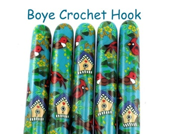 Crochet Hook, Boye Polymer Clay Covered Crochet Hooks, Crochet Hook Size B-N, Custom Crochet Needle, Bird Garden, Bird House