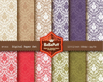 Instant Downloads, 12 Digital Damask Papers. Clip Art For Packaging, Handmade Crafts Projects. Personal and Small Commercial Use. BP 0416