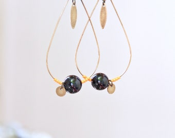 Drop earrings, Orange and black onyx and brass