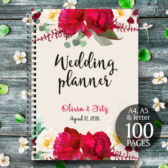 Boho wedding binder, Printable wedding planner, Burgundy floral wedding binder, DIY wedding binder, Wedding checklist,  Wedding to do list