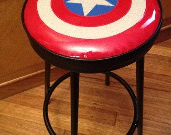 Captain America inspired design vintage stool