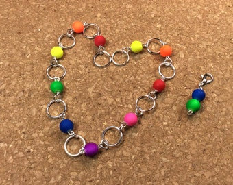 Row Counter - Number Row Counter for knitting or crochet - Counts to 100 - rainbow - chain marker - stitch marker - stitch saver - 11 us