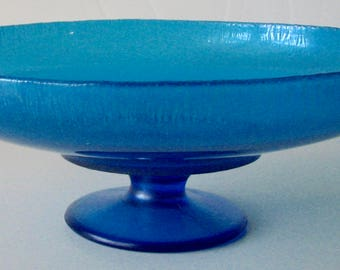 Antique Compote Northwood Glass Blue Stretch  #653 Celeste Blue