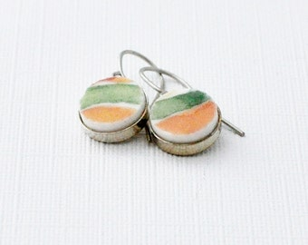Broken Plate Earrings - Recycled Materials - Dangle - Orange - Green - Fine China