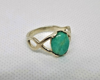 Ring, Amazonite on Sterling