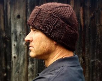 Mens brown wool winter hat