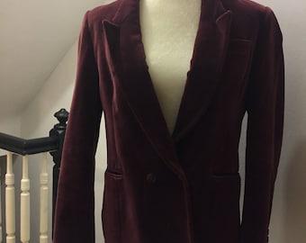 Vintage Velvet Burgundy Red Blazer