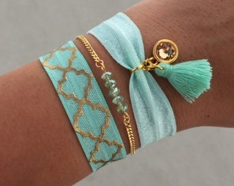 Ibiza bracelet set   free shipping   Aztec   summer   quote   tropical   gold   mint   mothers day