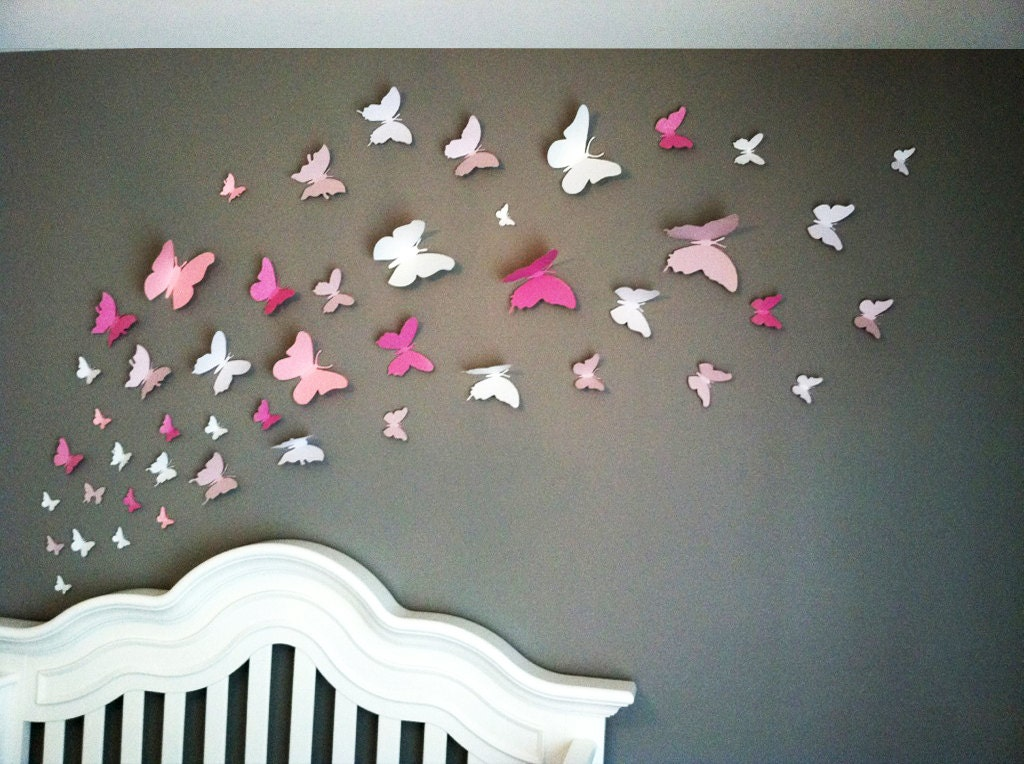 3D Butterfly Wall Art Home Decor Girls Room Pink and White