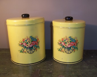 Set of Vintage Yellow Kitchen Tin Containers Bright Matching