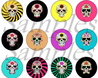 "1"" Inch Flatback Sugar Skull Buttons, Pins, Magnets 12 Ct. Set B"