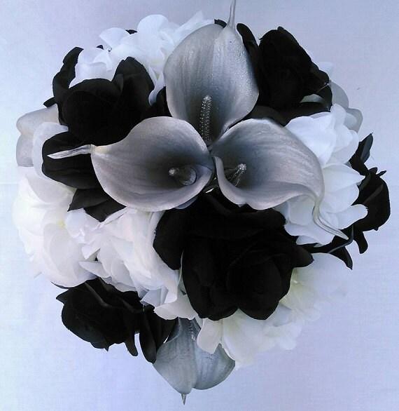 Black white roses white hydrangeas silver calla lilies