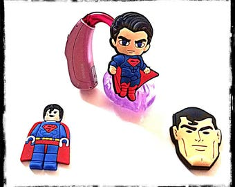 Hearing Aid Tube Trinkets or Cochlear Cuties:  Superman Inspired Cartoon Characters!  Please select quantity 2 for a pair!