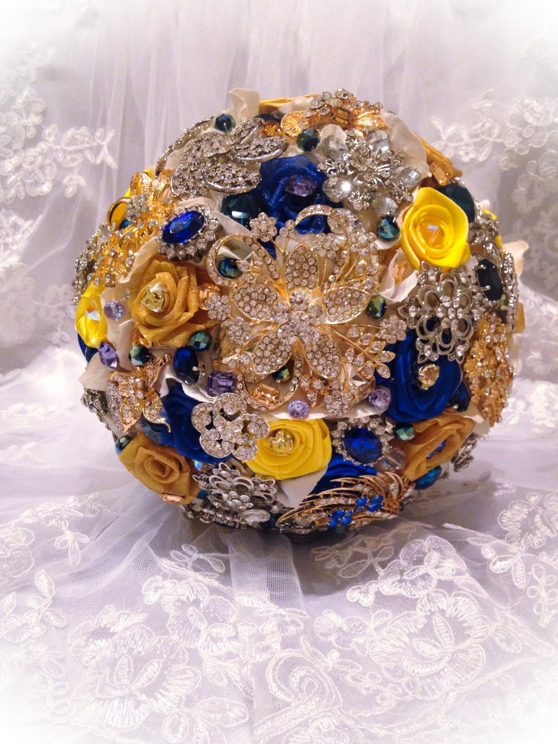 Blue Yellow Bridal Brooch Bouquet Full Price On Custom Royal