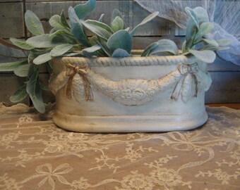 Swag and Bow Ceramic Planter - Oval Ceramic Planter - Ornate Planter - Oval Ceramic Vase - Oval Shape Pot - Farmhouse Home Decor