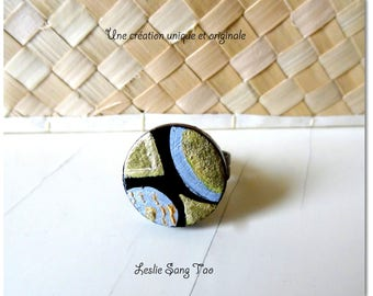 """Beautiful ring handcrafted round painted """"MAO"""""""
