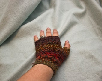 Warm Fingerless crochet gloves- non Vegan, Washable Wool