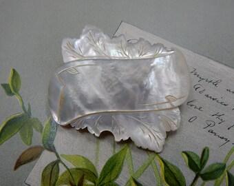 Antique Victorian Mother of Pearl Banner & Leaf Brooch    PAK20
