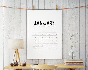 Calendar 2018, Minimalist calendar, Monthly calendar, Printable calendar, Monthly planner, 2018 calendar, Typography poster, Planner, 033