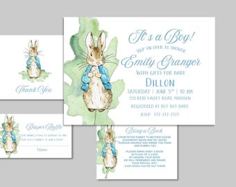 PETER RABBIT Baby Shower Invitation with Add On | Beatrix Potter