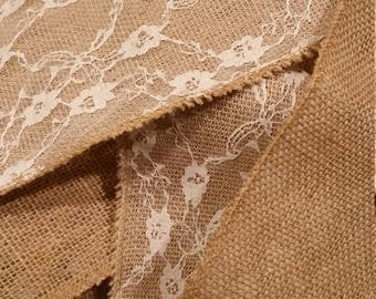 Roll of Burlap with lace detail 6 inches wide