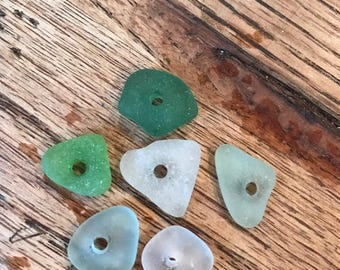 Center drilled beach glass surf tumbled small sea glass lot of 6 small center drilled  genuine sea glass lot jewelry DIY supplies