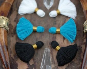 """Carolina Panthers Mix Mini Tassels, Gold Binding, Panthers Blue, White, Black, Handmade Jewelry Making Supply 1.25"""", 6 pc, Pantone, Football"""