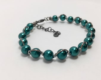 Teal and gunmetal classic pearl bracelet/wire wrapped glass pearl bangle/essential jewelry/lightweight/bride/wedding/gift/bridal party