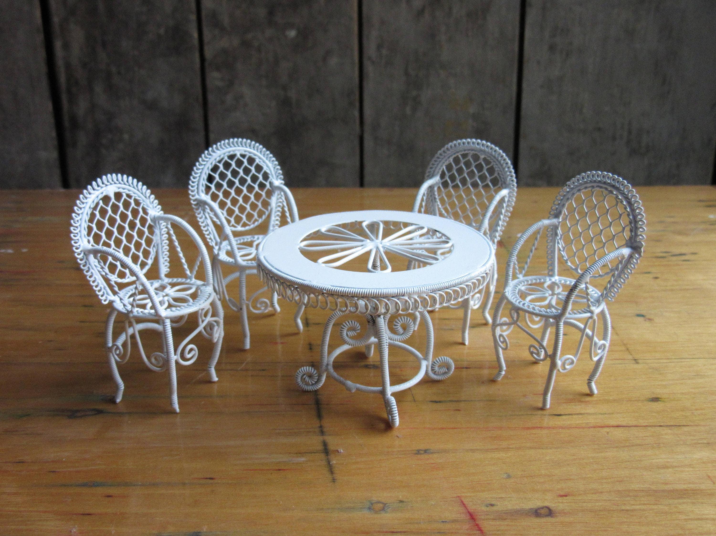 Casa de muñecas mimbre blanco alambre mesa y sillas, pintar Metal ...