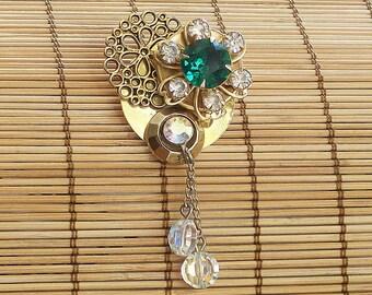 Sale Vintage Bauble Brooch Emerald OOAK