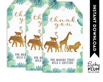 Safari Favor Tag / Safari Gift Tag / Safari Thank You Tag / Jungle Animal Elephant Giraffe Lion Monkey Green Gold / DIY Printable SF01